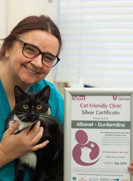 Nikki with cat friendly award